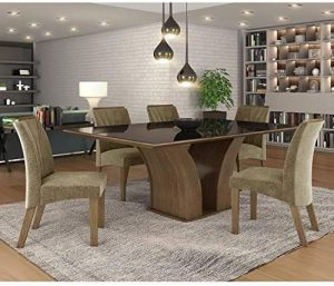 Conjunto Sala de Jantar Mesa Tampo Mdf+vidro 6 Cadeiras Leblon Tik Plus Espresso