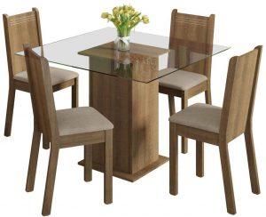 Conjunto Sala de Jantar Mesa e 4 Cadeiras